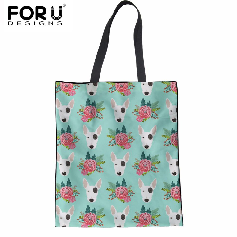 fd84339829 FORUDESIGNS Luxury Handbags Women Bags Designer Fashion Bull Terrier  Folding Ladies Tote Bags Linen Casual Reusable Clothes Custom Bags Grocery  Bags From ...