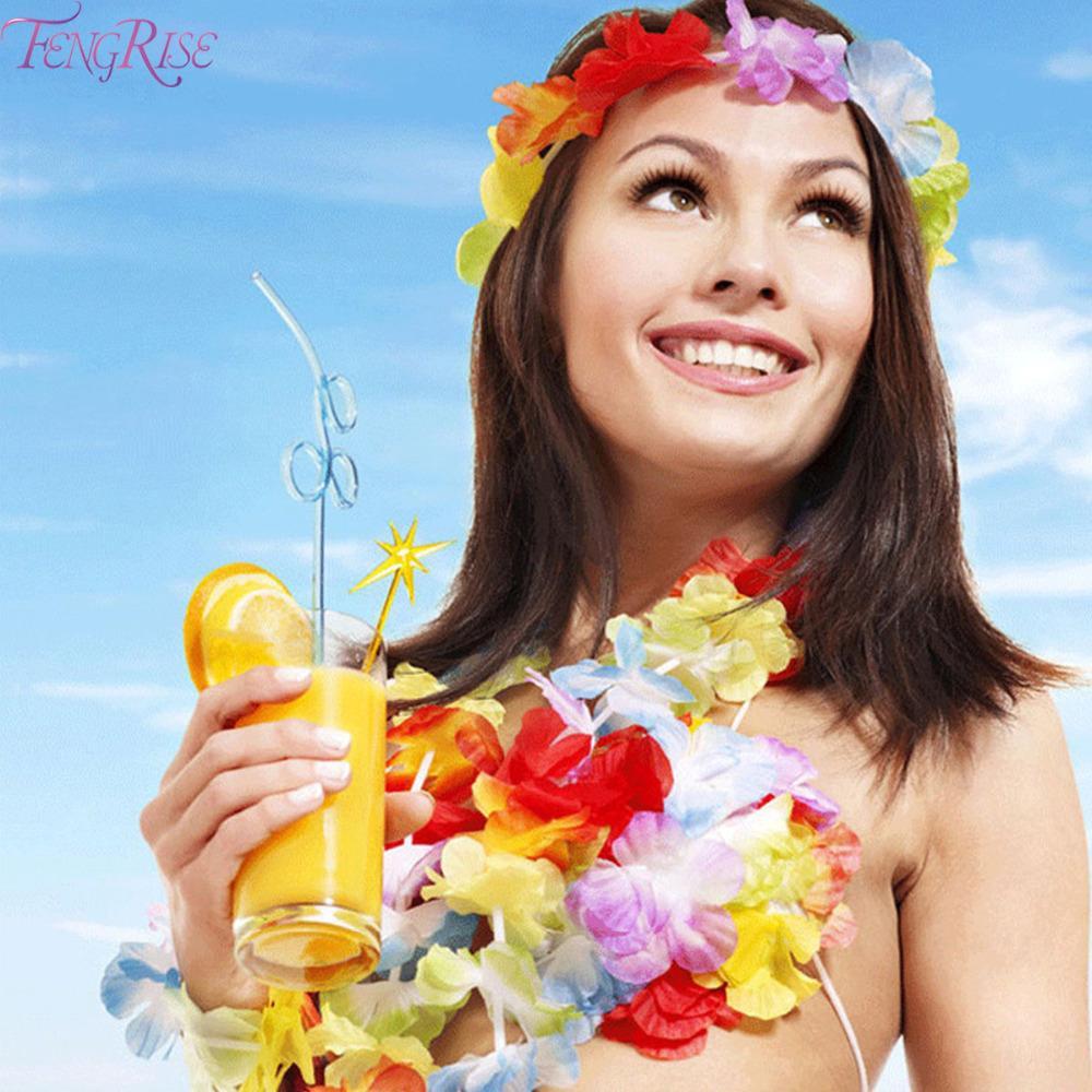 4 Piece Hawaiian Lei Set Multi Coloured Tropical Beach Fancy Dress