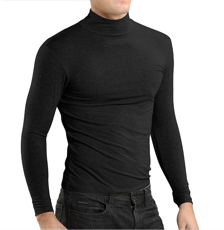 Mens Thermal lange Unterhosen Bequeme Warme Herbst / Winter Modal Herren Rollkragen Thermo-Unterwäsche Atmungsaktives Dünnes Unterhemd 5109