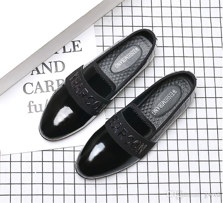 NEW style Fashion Men Shoes Slip On Oxford Shoes Mens Pointed Toe Dress Shoes Patent Leather Wedding Shoe G269