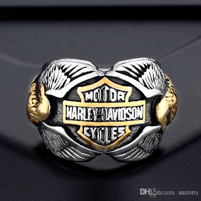Anéis de aço inoxidável por atacado, anéis de motocicleta europeus e americanos, anéis de Harley, estilo Double Eagle masculino.