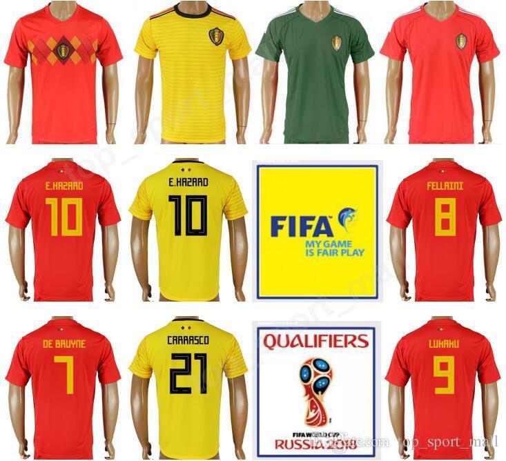 c0c29c17a Belgium 2018 World Cup 10 HAZARD Soccer Jersey 4 Vincent Kompany 9 Romelu  Lukaku Goalkeeper 12 Simon Mignolet Thailand Football Shirt Kits Belgium  2018 ...