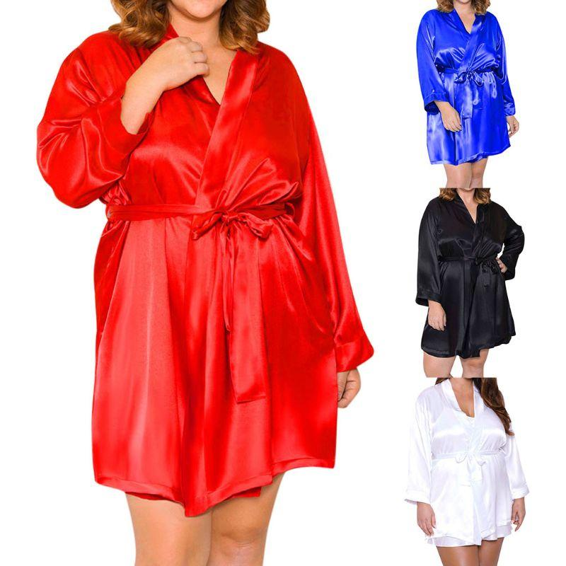 b5dcc804b7c 2019 Womens Plus Size Faux Silk Nightgown Solid Loose Kimono Bride Bath  Robe Belted From Weilad