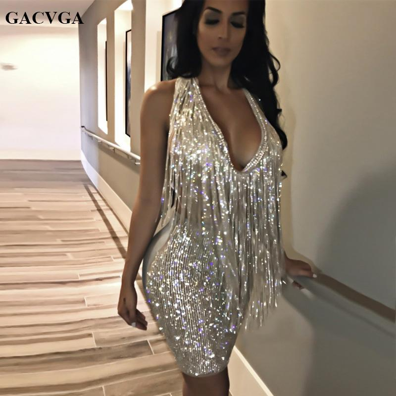 cfda4c3f08 GACVGA 2018 New Silver Sequins Dress Sexy Deep V-neck Backless Women  Bodycon Sundress Luxury Party Club Sexy Mini Dress Vestidos