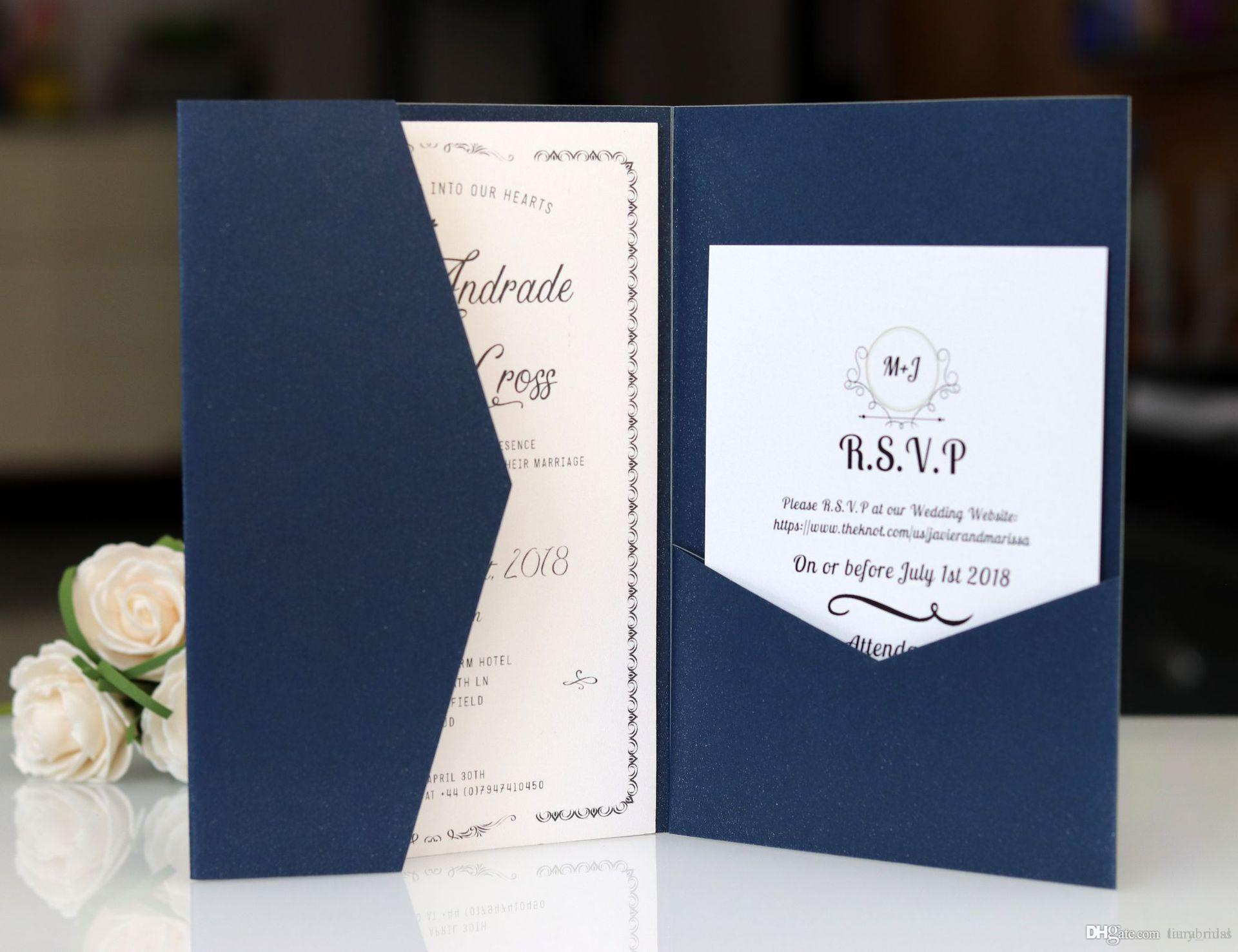 navy blue free print laser cut invitations cards with rsvp cards