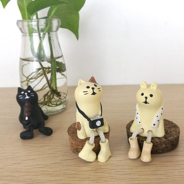 Chat Ours Miniature figurine Japon Zakka Animal Décoration Mini Fée Jardin Résine artisanat jouet cadeau Ornement