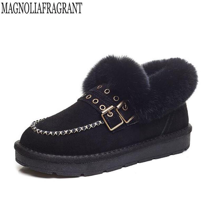 Art und Weise Frauen Schuh Winter neue Schneeschuhe Leder Frau Boot koreanische Version der bloßen Stiefel abriebfeste flache mm122