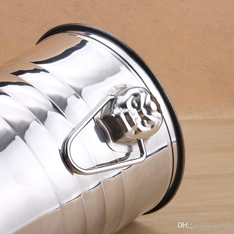 Stainless Steel Nonmagnetic Silvery Ice Bucket Double Ear Design Of Tiger Head Bar Barrel Wrinkles Beer Buckets Exquisite 27qy3 X