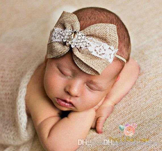Newborn Baby Headbands Bows Kids Girls Rhinestone Pearl Hairbands Flax  Fabric Vintage Bowknot Elastic Headband Children Hair Accessory KHA52 Goody  Hair ... e37176e2465