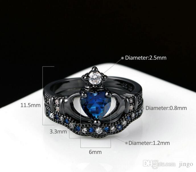 Heart crown layer Ring Sets Charm Couples Rings Crystal Men's Band Ring Heart Blue Sapphire Women's Wedding Bands