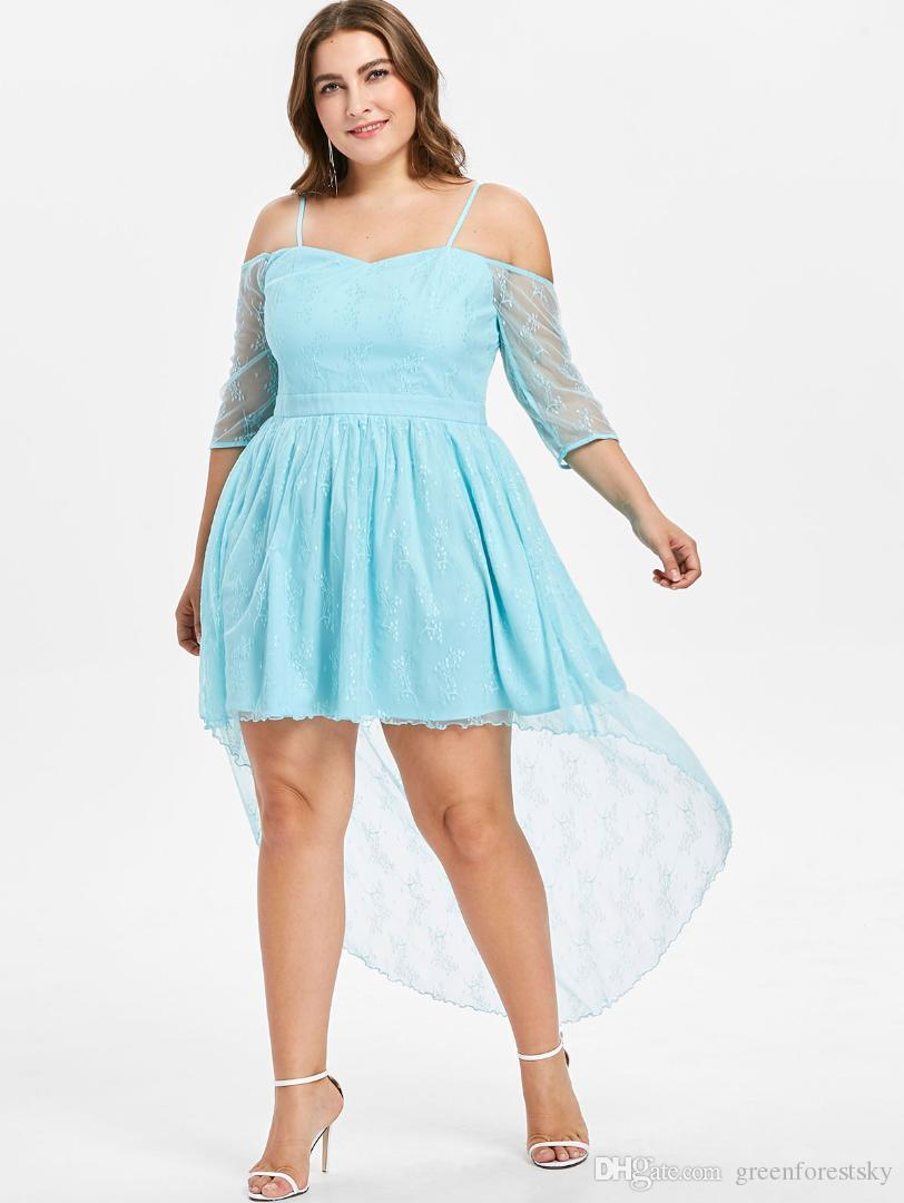 881a08dc6b2 Wipalo Plus Size 5XL Sexy Cold Shoulder Lace High Low Midi Dress Women  Bodycon Sheer Elegant Evening Party Dress Large Size White And Blue Dresses  For ...