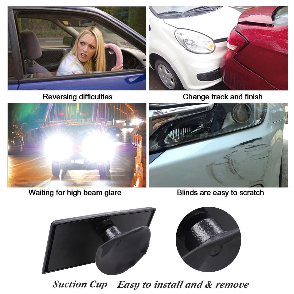 자동차 인테리어 백미러 자동차 자동차에 대 한 빨 대 보조 스폿 스퀘어 미러 회전식 빨판 거울 블랙