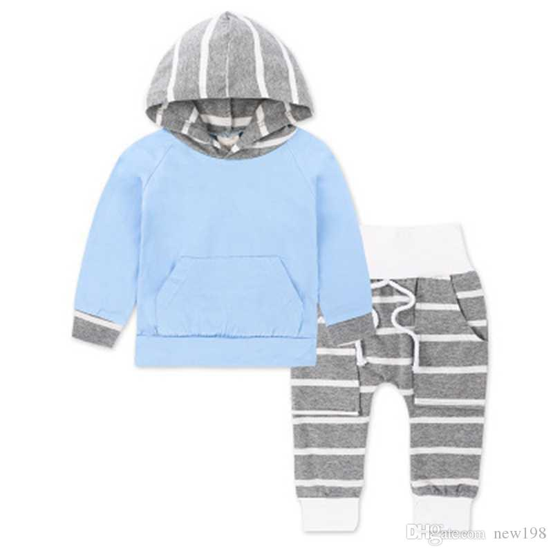 2018 Autumn 2018 Fashion Baby Clothes Set With Hood T Shirts Long