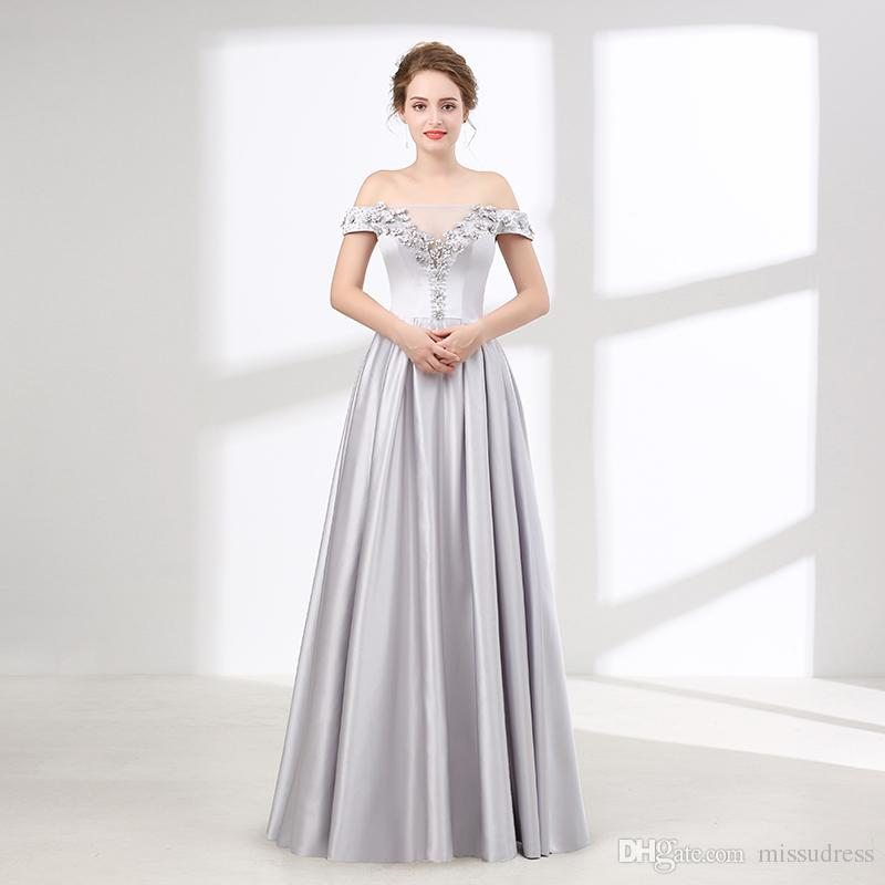Silver Prom Dresses Long A Line Off Shoulder Rhinestone Beaded Satin Evening  Dress Plus Size Prom Dress Halter Neck Prom Dresses Long Cheap Prom Dresses  ... 8f60f01b3e1b