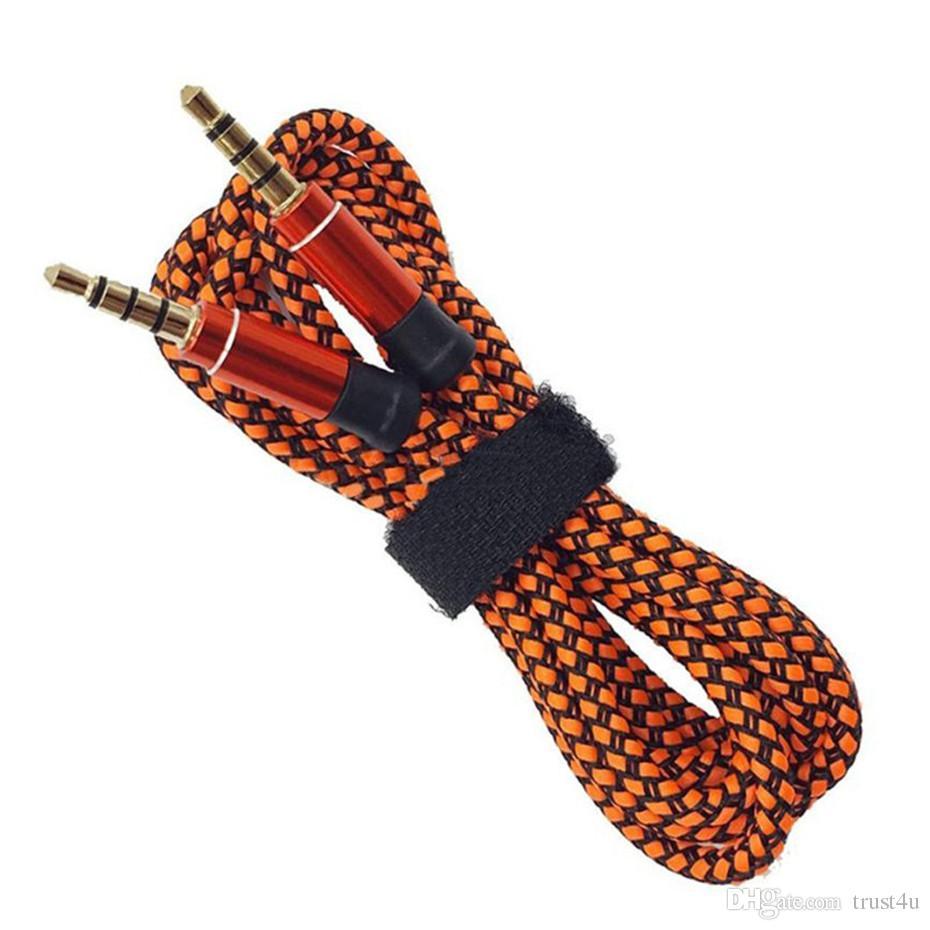 دون انقطاع المعادن نايلون مزين كابل الصوت 1.5M 5FT 3.5MM جولة ذكر ستيريو المساعد AUX تمديد للهاتف المحمول MP3 مكبر اللوحي