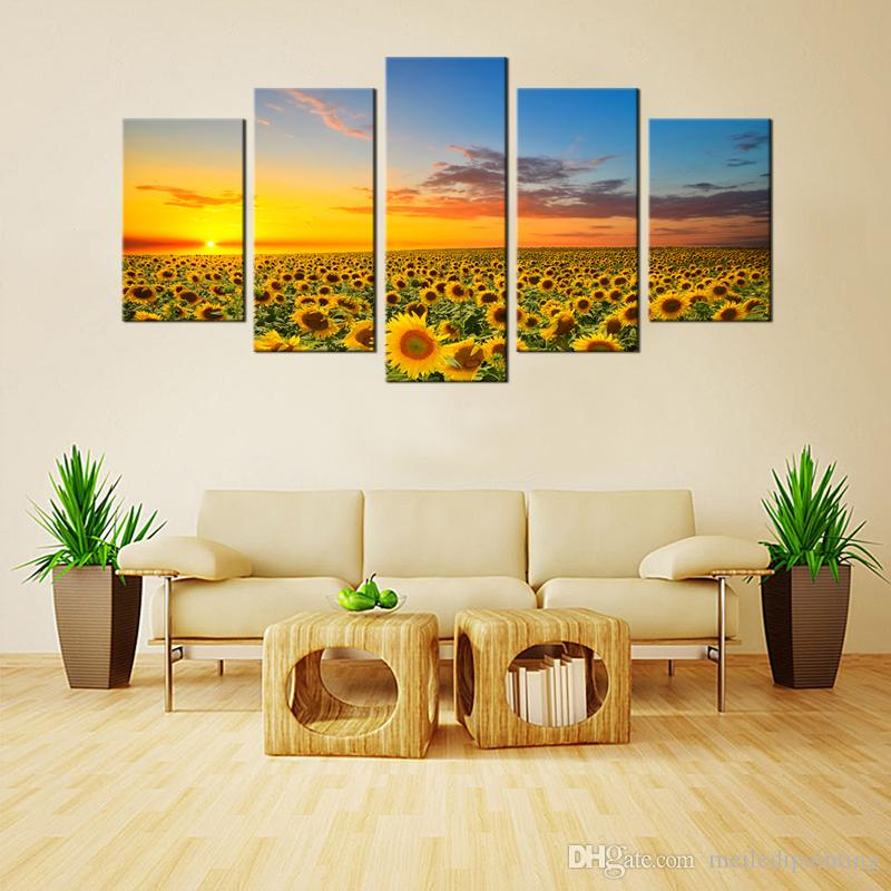 Sunflowers Canvas Paintings Artworks Landscape Pictures Printed Wall ...