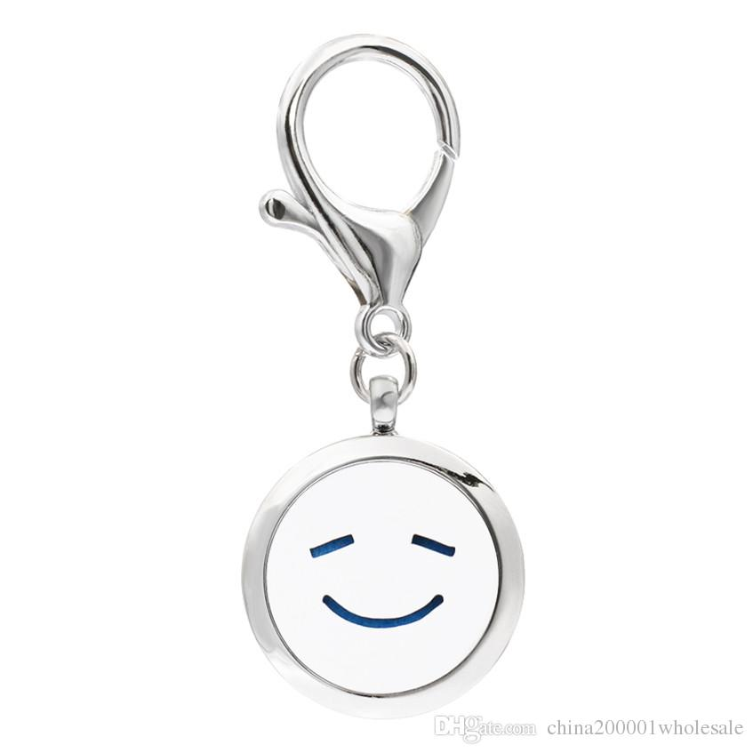 Mixed styles KeyChain Essential Oil Aroma Diffuser Perfume Locket with Lobster clasp Keychain keyring With free Pads KA101-KA110