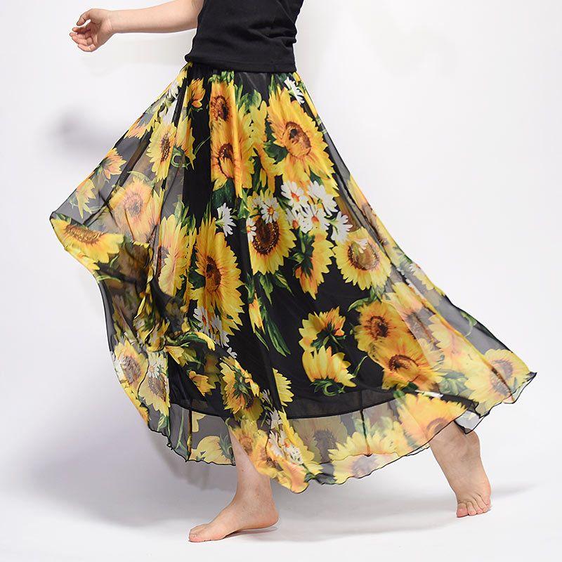 Elegante verano 2019 mujeres falda larga de gasa Saia playa maxi bohemio faldas de cintura alta Tutu casual Vestidos Harajuku Imprimir