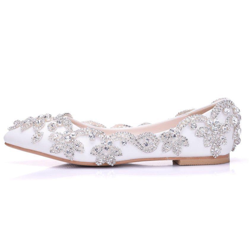New Fashion Rhinestone Women Flats Multi Crystal Pointed Toe Flat Beautiful Wedding Shoes Plus Size