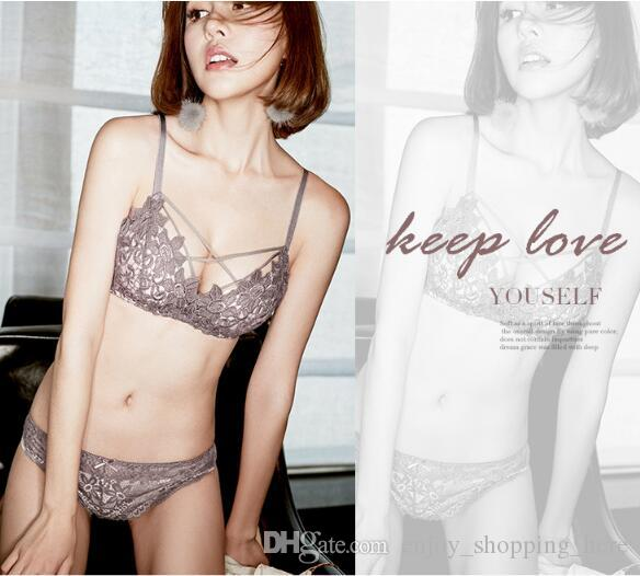 ed0fd342611 Sexy Triangle Bra Cup Set Lace Lingerie Women s Adjustable Type Thin Bra Set  Ladies Wire Free Lace Push Up Bra High Quality Wholesale Triangle Bra Cup  Set ...