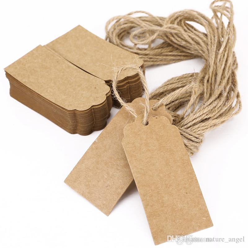 Brown Kraftpapier Tags Spitze Jakobsmuschel Kopf Label Gepäck Hochzeit Hinweis String DIY Blank Preis Fallumbau Kraft Geschenk Fallumbau