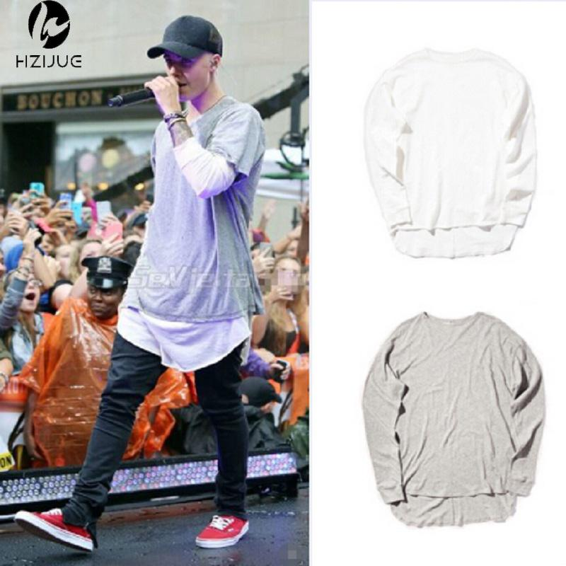 0494d396 HZIJUE Hipster Men Justin Bieber Clothes Streetwear Brand Clothing Long  Sleeve Plain Extended T Shirt Curved Hem Tee Tees Shirts T Shirt Site From  ...