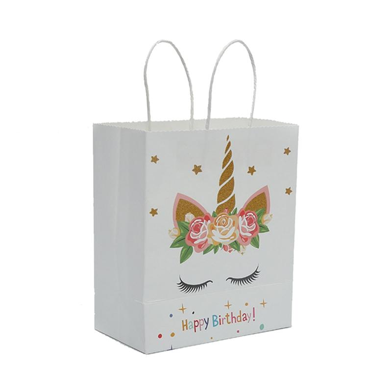 New Style Party Paper Gift Bag Packaging Birthday Decorations Kids Unicorn Cookie Candy Extra Large Wrap Bags Wide Christmas Wrapping