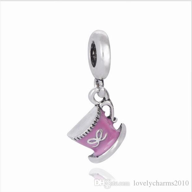 6b1aaf6c3 2019 Fits Pandora Bracelets Coffee Cup Enamel Silver Charms Bead Dangle  Charm Beads For Wholesale Diy European Sterling Necklace Jewelry From ...