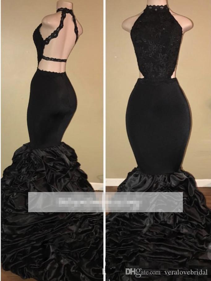 Black Prom Dresses Halter Neck Ruched Tired Appliques Lace Mermaid Evening Dresses Sleeveless Open Back Arabic Dresses Plus Size
