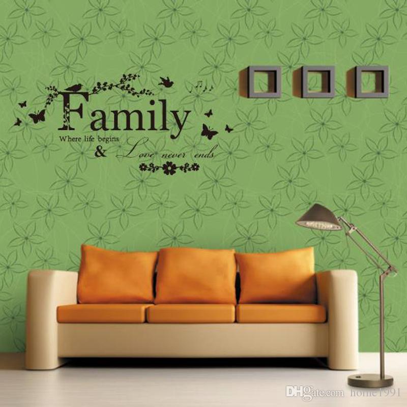 Yeni Duvar Çıkartmaları Kelimeler Aile Yaratıcı Duvar Atasözü Dekoratif Yatak Su Geçirmez Oyma Duvar Çıkartmaları PVC Çıkarılabilir Ev Dekorasyon