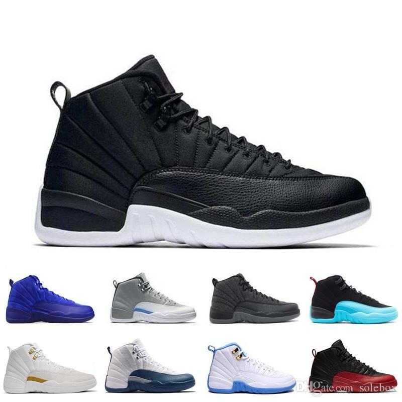 7c2d2f2818da5a 2019 New 12 12s XII Mens Womens Basketball Shoes Ovo White GS Barons TAXI  Flu Game Playoffs Flint Grey French Blue Sneakers From Solebox