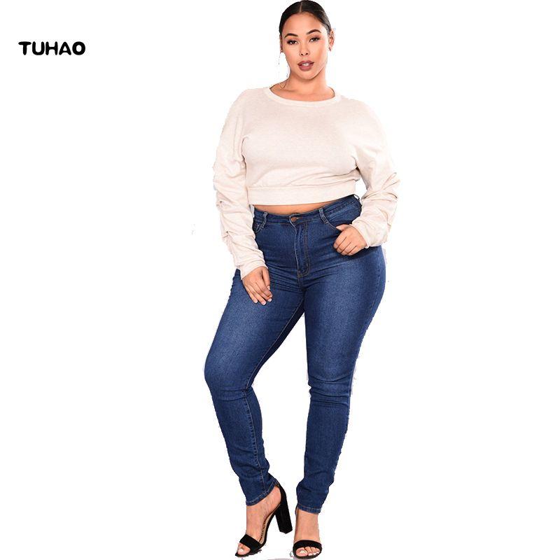 4af5fd5484 Compre TUHAO 2018 OTOÑO INVIERNO Office Lady Stretch Boyfriends Jeans Para Mujer  Tallas Grandes 5XL 4XL Jeans Pantalones Para Mujeres QT66 A  34.28 Del ...