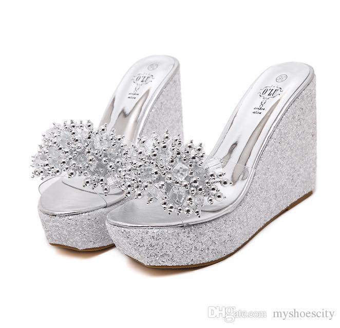 7953761f0ebc ViVi Lena 2018 Sequined Clear PVC Platform Wedge Sandals Slipper Women High  Heel Slipper Shoes Black Gold Silver Size 34 To 40 Italian Shoes Summer  Shoes ...