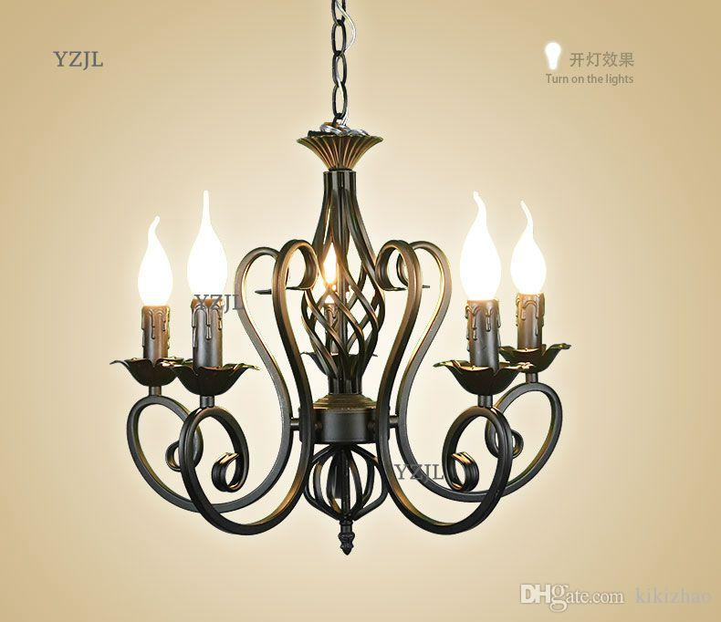 Chandeliers creative simple black white candle garden lighting chandelier bedroom restaurant lighting chandelier iron Lighting