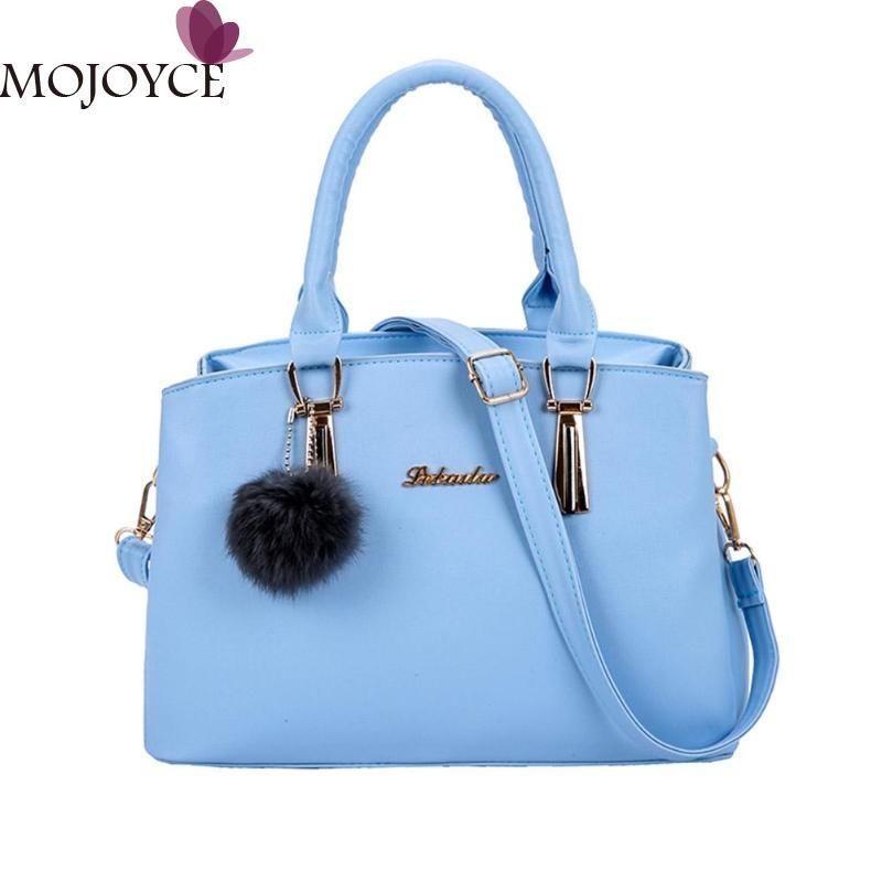 76251b0fed05 Solid Handbag For Women 2018 Female Large Capacity Sling Bag Pompom Ball PU  Leather Handbag Girl Shoulder Shopping Bags New Rosetti Handbags Name Brand  ...