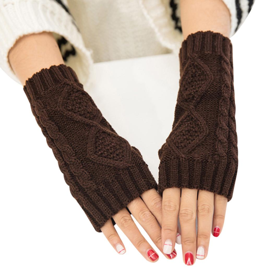 a46fbe14e2a7 2019 Fashion Design Women Winter Half Finger Fingerless Gloves Wrist ...