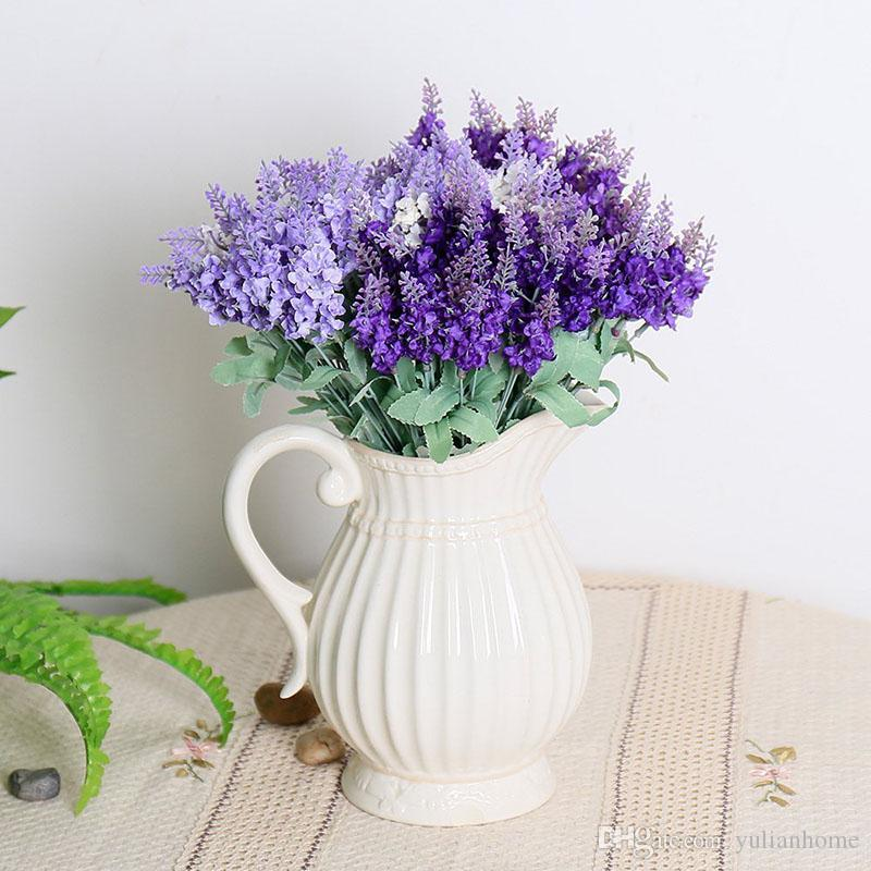Heads Silk Lavender Artificial Flower Vivid Silk Bouquets Romantic Flowers For Wedding Table Decoration Home Decor Gift Dark Purple