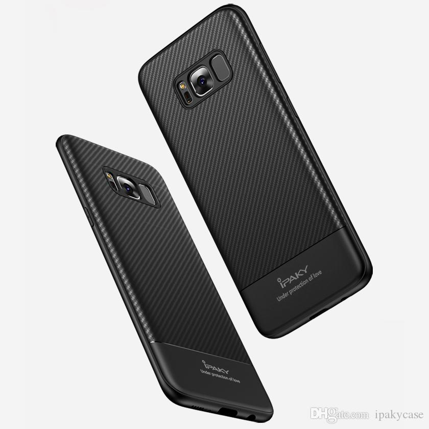 save off a518d 0ebb4 iPaky Case For Samsung Galaxy S8 Plus Carbon Fiber TPU Back Cover S8  Drop-proof Shockproof Soft Ultra Thin Slim Cases With Package Stock