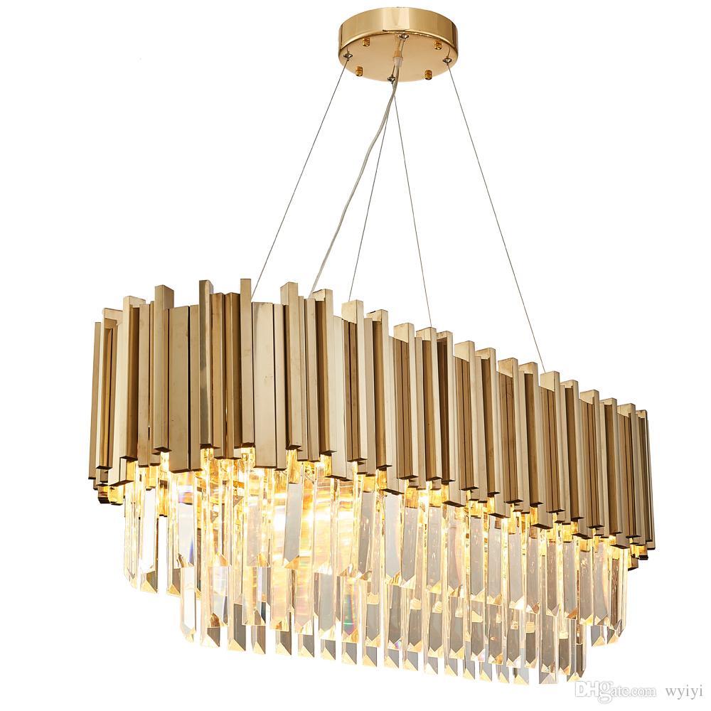 Dining Room Modern Crystal Chandelier Luxury Oval Hanging Light Fixtures  Dining Room Suspension LED Lustres De Cristal AC100 240V Antler Chandeliers  ...