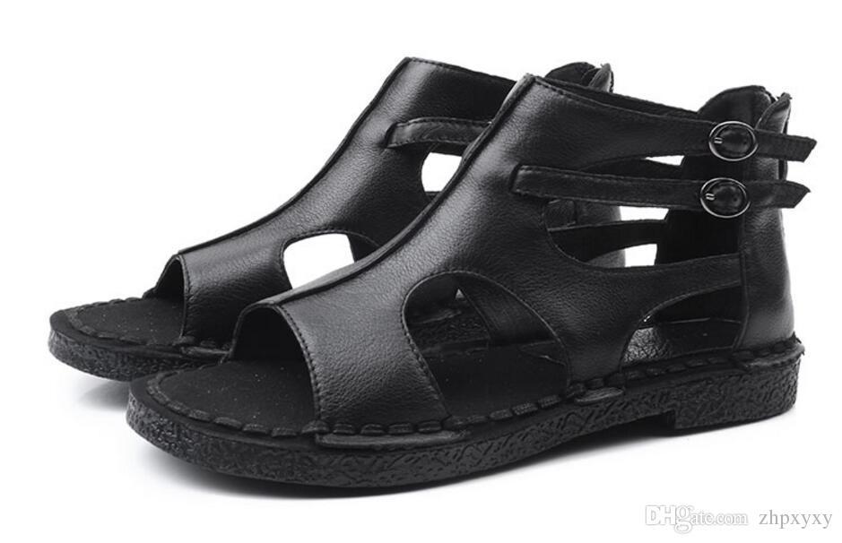 Neue Marke handgefertigt aus echtem Leder Frauen Sandalen bequeme flache Reißverschluss Frauen Sommer Schuhe Mather Gladiator Sandalen