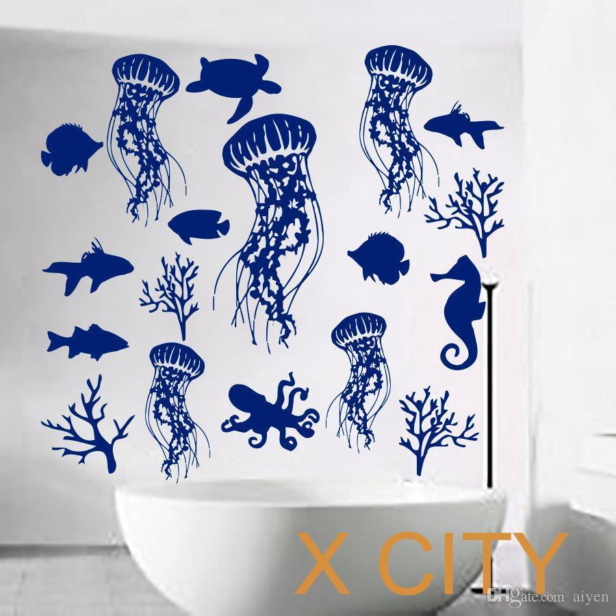 Fish Wall Decal Sea Shell Art Jellyfish Vinyl Bathroom Stickers