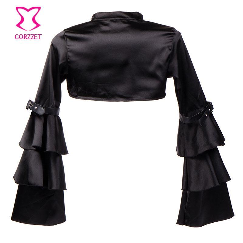 Victorian Ruffle Black Satin Long Flare Sleeve Gothic Jacket Bolero Women Short Coat Steampunk Corset Sexy Costume Outerwear
