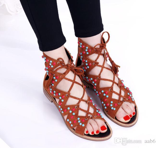 3ed8a5b604ed Fashion Summer 2018 New Suede Cross Strap High Bohemian Cool Boots Roman  Sandals Retro Flat Shoes Wedge Shoes Womens Sandals From Aab6