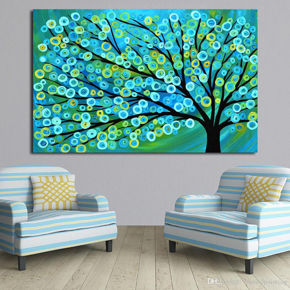 Pintura A óleo Da Arte Da Lona Azul Ouro Abstrata Pinturas Da Árvore Para Sala de estar Parede Sem Moldura Fotos Decorativas