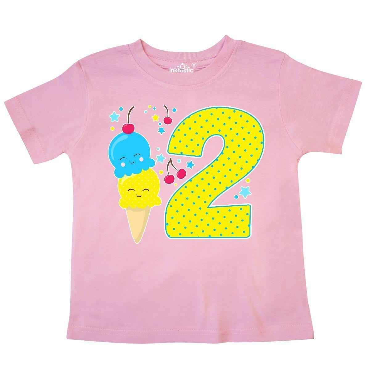 Inktastic Ice Cream Second Birthday Blue Toddler T Shirt Birthdays 2nd 2 Two Old Funny Unisex Casual Tee Gift Tees Shirts Cheap Design And Buy From