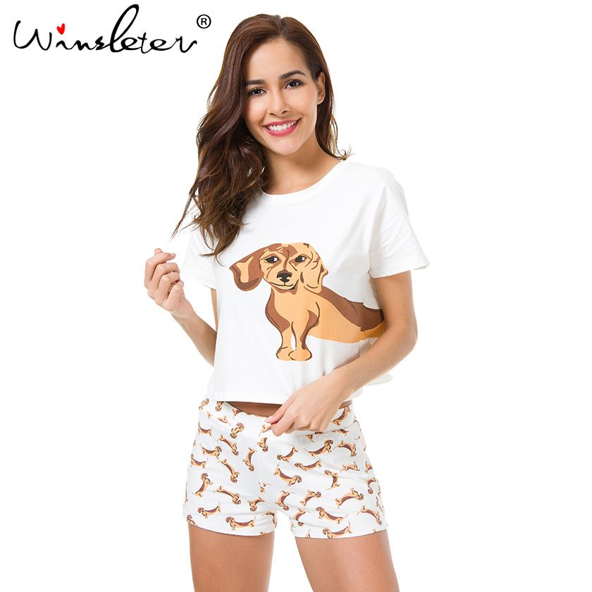 0c2e38d45151 2019 Best Seller Cute Women S Pajama Sets Dachshund Print Set Dog  Collection Crop Top + Shorts Elastic Waist Loose S6706 From Berniee