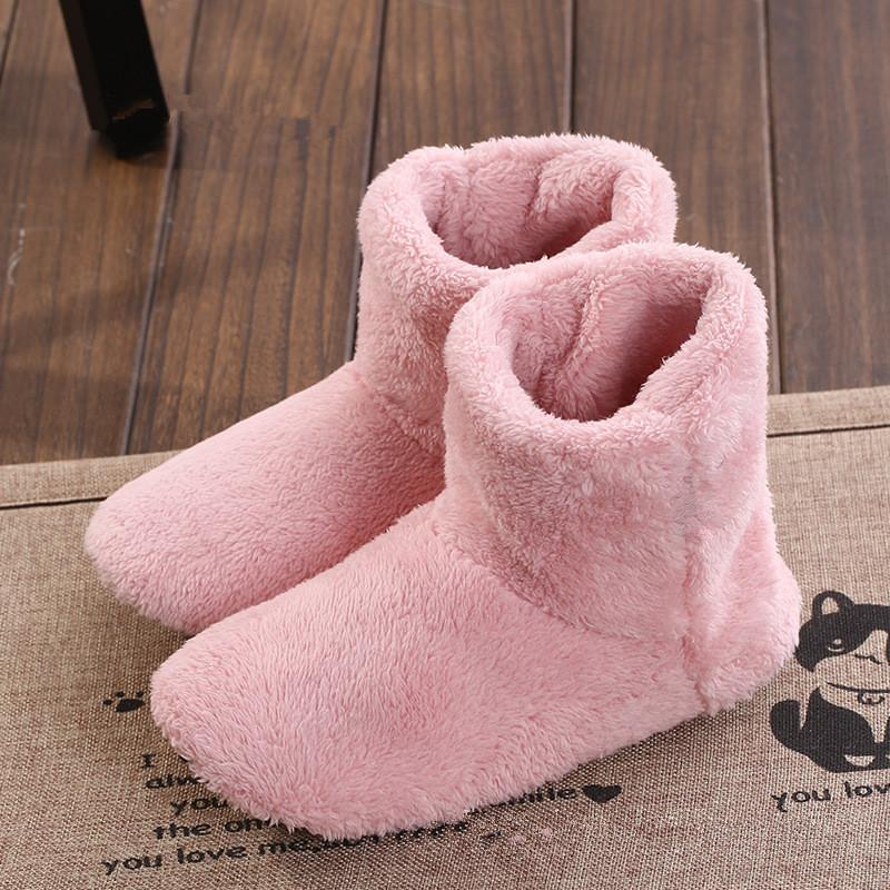fur flock flat dark coffee winter house slippers for ladies adult soft ankle simple style indoor warm slipper latex floor shoes