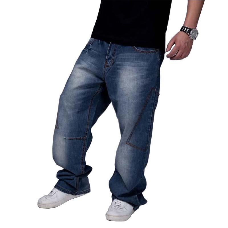 a5d9b8afc Compre Calças De Brim Dos Homens Perna Larga Calças Jeans Soltas Hip Hop  Skate Calças Jeans Em Linha Reta Harem Baggy Calças Roupas Masculinas Plus  Size 30 ...