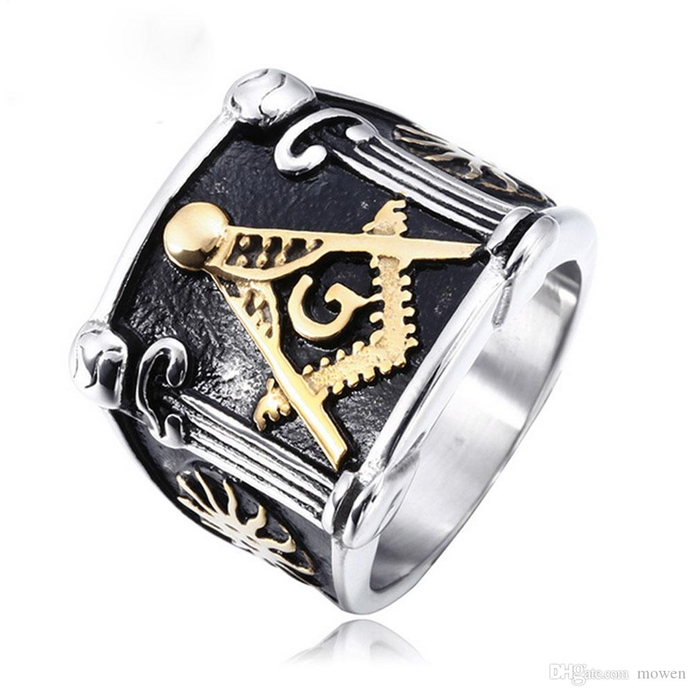 Wholesale-Masonic Ring 2018 New Fashion 18k Gold Plated Free Mason Rings  For Man Stainless Steel Freemason