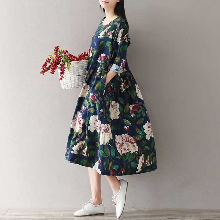 Mferlier Hiver Automne Floral Print Womens Robes O Cou À Manches Longues Taille Haute Plissée Littérature Lâche Casual Dress